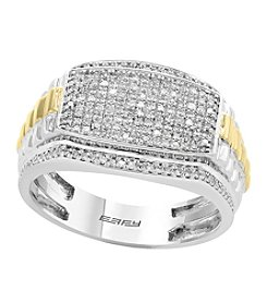 Effy Men's Sterling Silver & 14K Yellow Gold 0.46 Ct. T.W. Diamond Ring