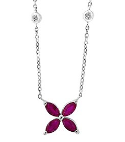 Effy 14K White Gold Ruby And Diamond Accent Necklace