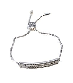 LA Rocks Silver Plate Adustable Bolo Bracelet With Crystal Accents