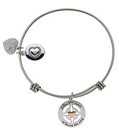 LA Rocks Stainless Steel Adjustable Bangle With Follow Your Heart, It Knows The Way Message