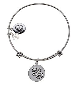 LA Rocks Stainless Steel Adjustable Bangle With Sisters Message