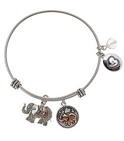 LA Rocks Stainless Steel Adjustable Bangle With Lucky Message