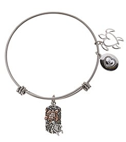 LA Rocks Stainless Steel Adjustable Bangle With Life's A Beach Message