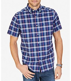 Nautica Men's Big & Tall Wrinkle Resistant Stretch Plaid Short Sleeve Shirt