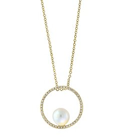 Effy 14K Yellow Gold Fresh Water Pearl & Diamond Accent Pendant