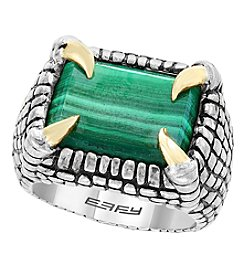 Effy Men's .925 Sterling Silver & 14K Yellow Gold Malachite Ring