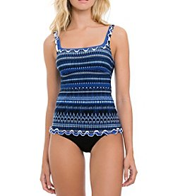 Profile by Gottex Indigo Girl Patterned Tankini Top and High Waist Bottoms