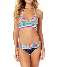 Anne Cole Bright Stripes Triangle Bikini Top and Midrise Fold Bottoms