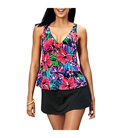 Caribbean Joe V Neck Tankini Top and Slit Skirt Bottoms