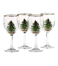 Spode® Christmas Tree Set of 4 Wine Glasses