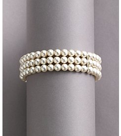 Studio Works® White Pearl Three-Row Stretch Bracelet