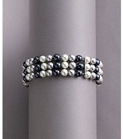 Studio Works® Three-Row Tonal Gray Pearl Stretch Bracelet
