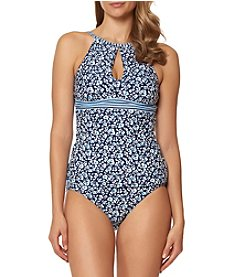 Ellen Tracy High Neck Floral Tankini Top and Banded Bottoms