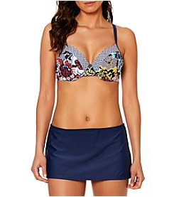 Ellen Tracy D Cup Floral Bikini Top and Skirted Bottoms