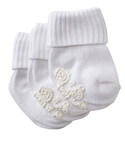 Cuddle Bear® Baby White Gripper Booties