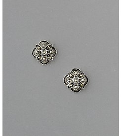 Marsala Sterling Silver Button Starburst Marcasite Earrings