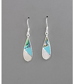 Sterling Silver Natural Multi Stone Tear Drop Earrings