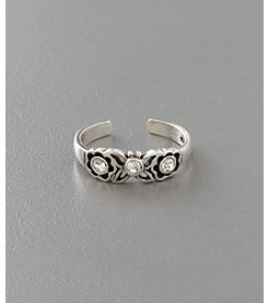 Marsala Sterling Silver Clear Crystal Butterfly Toe Ring
