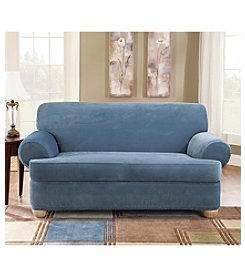 Sure Fit® Stretch Pique Sofa & Loveseat Separate Seat T-Cushion Slipcovers