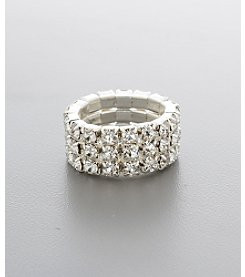 BT-Jeweled Triple Row Stretch Ring - Silvertone/Clear Crystal
