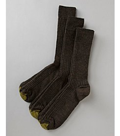 GOLD TOE® Men's 3-Pack Fresh Tex Windsor Wool Crew Socks