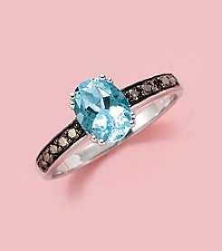 Effy® Brown Diamond & Aquamarine Ring