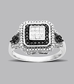 .50 ct. t.w. Black and White Diamond Ring in 14K White Gold