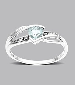 Trillion-cut Aquamarine & Diamond Ring in 10K White Gold