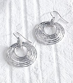 .16 ct. t.w. Diamond Sterling Silver Circles Drop Earrings