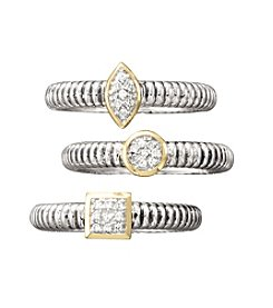 Sterling Silver and 14K Gold Stackable Ring with Diamond Accents