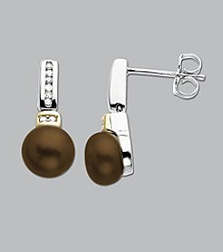 Sterling Silver and 14K Gold Chocolate Pearl Diamond Earrings