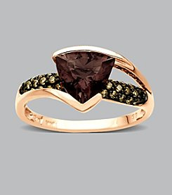 10K Rose Gold Smoky Quartz Ring