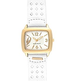 Nine West® Perforated Strap Watch - White