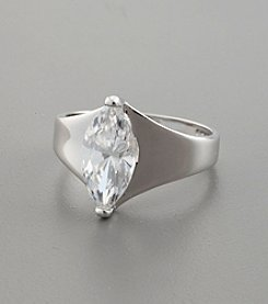 Large Marquis Cut Cubic Zirconia Solitaire Ring