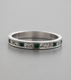 Channel-Set Cubic Zirconia & Emerald Swarovski® Crystal, Sterling Silver Ring