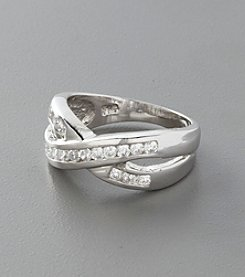 Sterling Silver and Channel Set Cubic Zirconia Ring