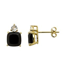 18k Yellow Gold-Over-Sterling Silver, .925 Onyx and White Topaz Earrings