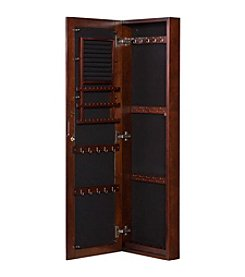Southern Enterprises Sophia Wall-Mount Jewelry Mirror - Warm Brown Walnut