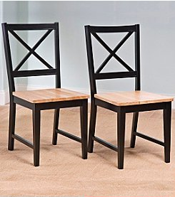 TMS Set of 2 Virginia Black & Natural Cross Back Chair