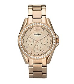Fossil® Women's 38mm Riley Multifunction Rose Goldtone Dial Watch