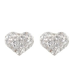 Athra Sterling Silver Clear Crystal Heart Post Earrings