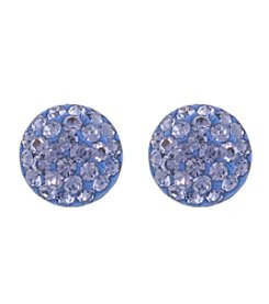 Athra Purple Crystal Half Ball Earring