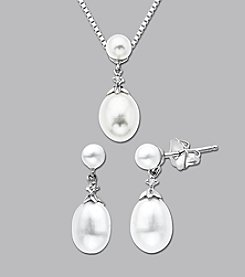 Sterling Silver Freshwater Pearl Diamond Pendant and Earrings Set