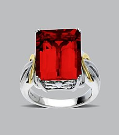 Emerald Cut Created Ruby Ring in Sterling Silver and 14K Gold
