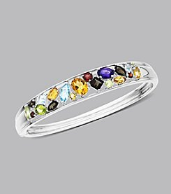 Sterling Silver Multi-Color Semi-Precious Bangle Bracelet
