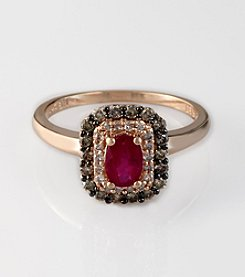 Effy® 14K Rose Gold Lead Glass Filled Ruby with .35 ct. t.w. Brown and White Diamond Ring