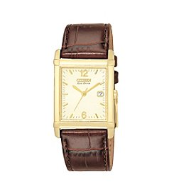 Citizen Men's® Eco-Drive Leather Strap with Champagne Dial Watch