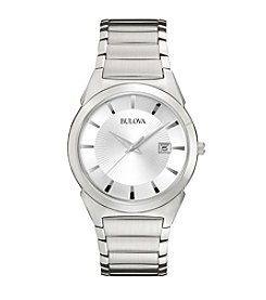 Bulova® Men's Stainless Steel with Silver Dial Watch