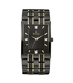 Bulova® Men's Black and Gold Stainless Steel with Black Dial Watch