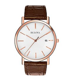 Bulova® Men's Brown Leather Strap and White Dial Watch